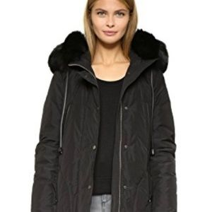 Vince, Fox Fur Trimmed Hooded Parka Jacket